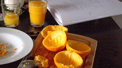 Mousse au chocolat et à l'orange pendant l'atelier cuisine