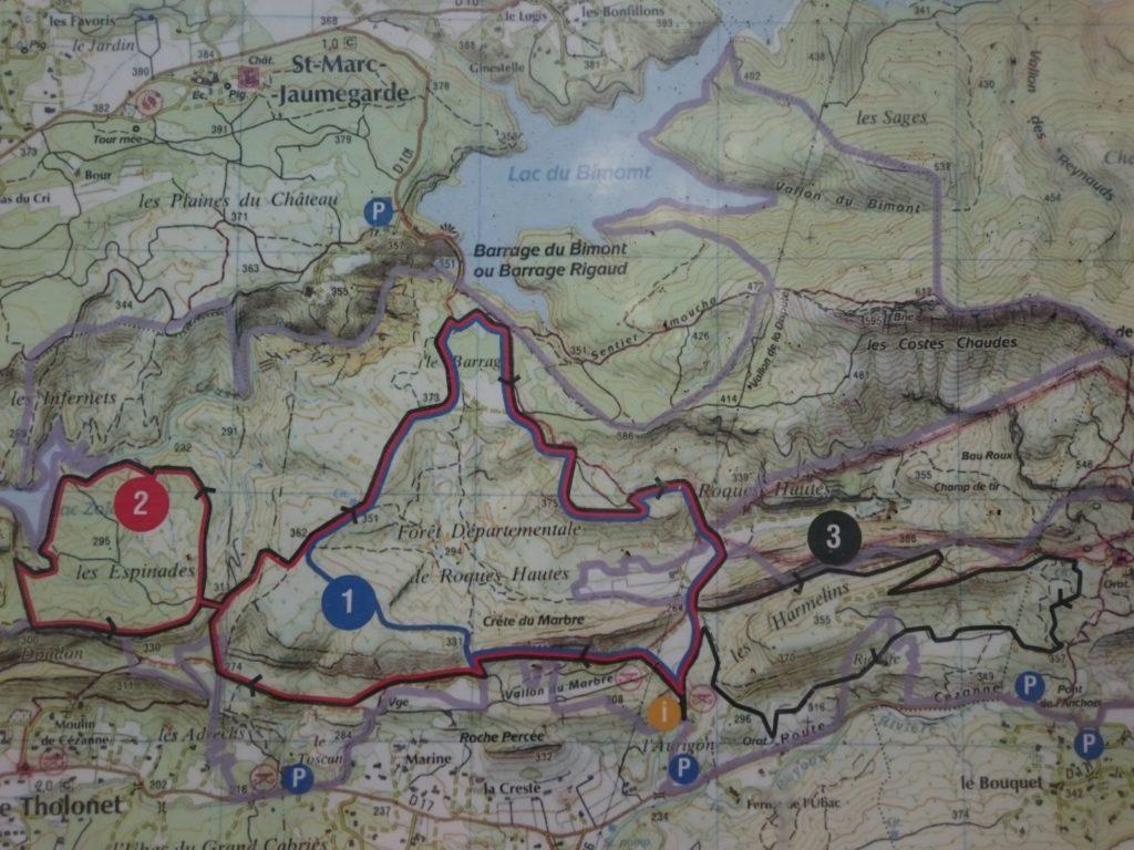 carte des 3 sentiers de la Forêt Départementale de Roques Hautes