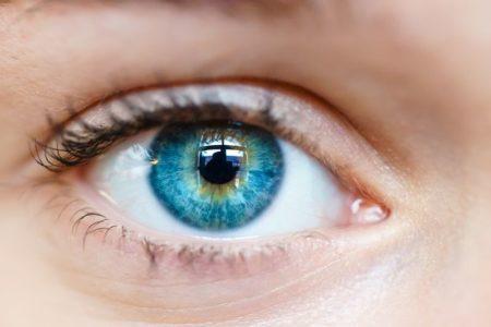 Iris bleu humain